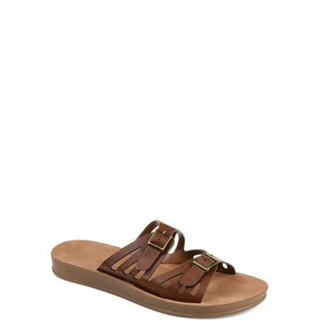 Detail Sandals (Brinley Co. Womens Dual Strap Buckle Detail Sandal)