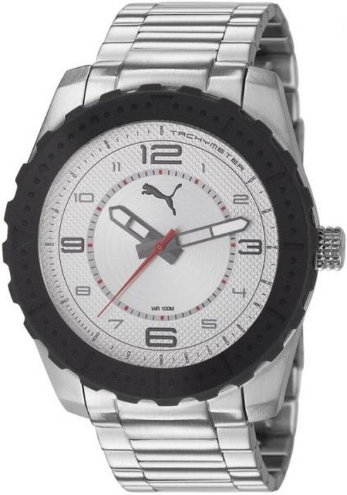 Puma Men's PU103091001 Silver Quartz Watch with Silver- White Dial by Puma