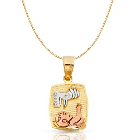 14K Tri Color Solid Gold Baptism Religious Charm Pendant with 0.6mm Box Chain Necklace