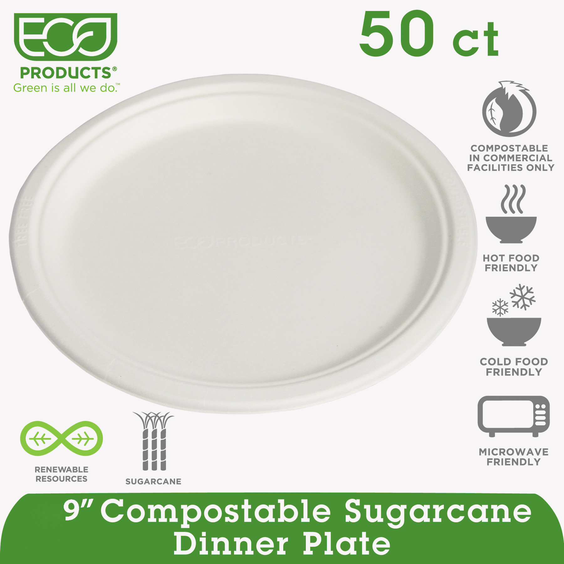 "Eco-Products Renewable & Compostable Sugarcane Plates, 9"", 50/PK"