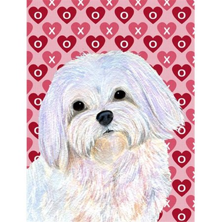 - 28 x 40 In. Maltese Hearts Love And Valentines Day Portrait Flag Canvas, House Size