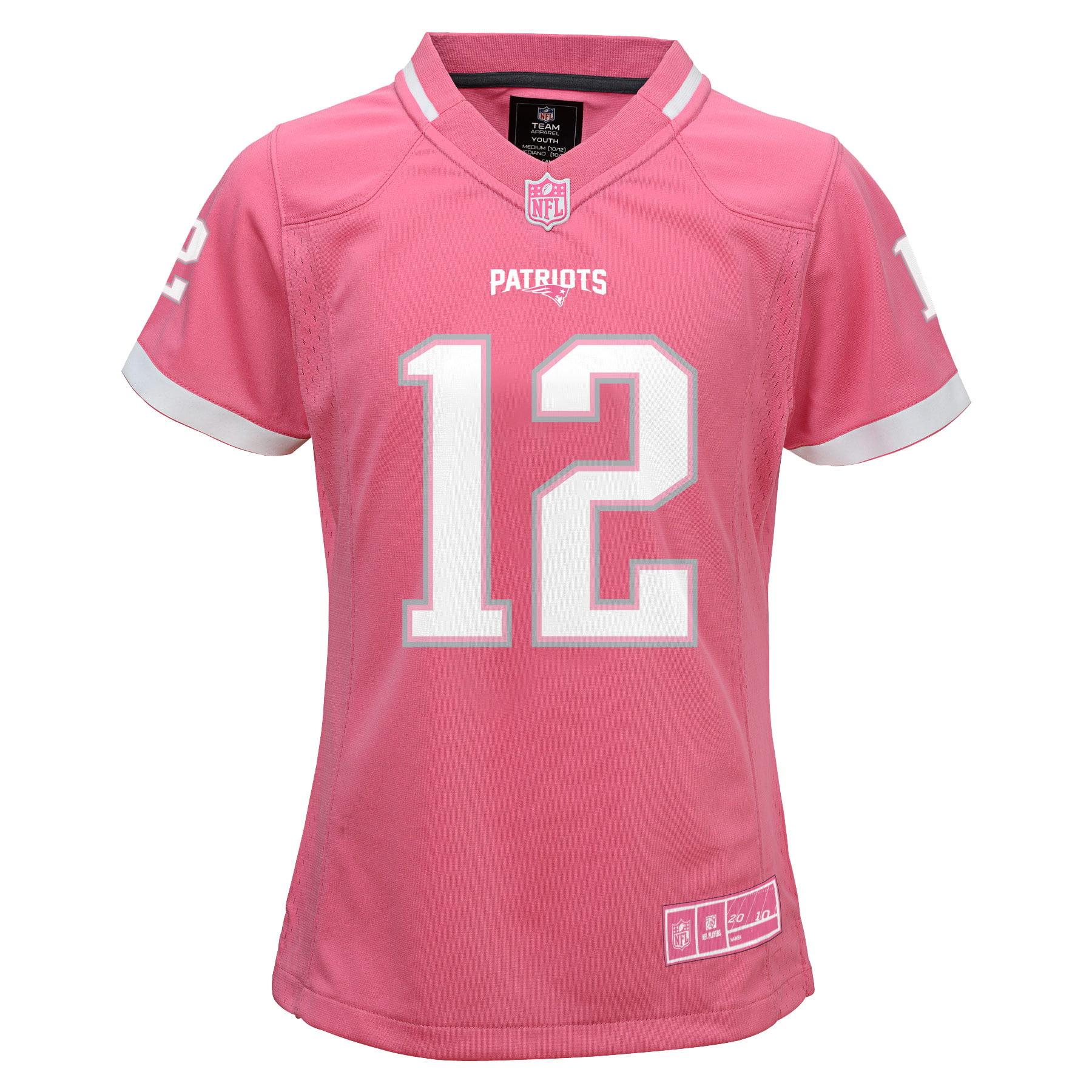 Tom Brady New England Patriots Girls Youth Bubble Gum Jersey - Pink