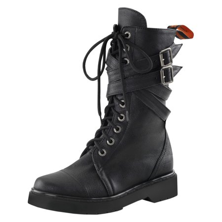 SummitFashions Damenschuhe Combat Stiefel Lace Up Schuhes Schuhes Up Buckle Straps c0cb75
