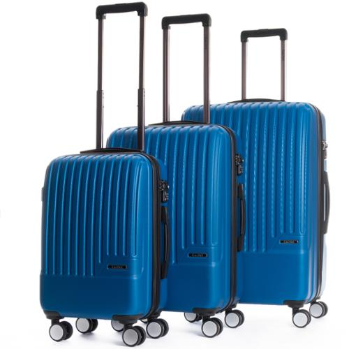 CalPak Davis Expandable 3-Piece Hardside Spinner Luggage Set Blue
