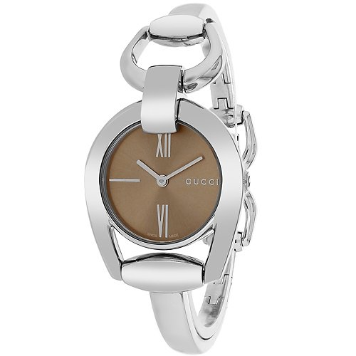 0100640f7dcf1a Gucci - Gucci Horsebit Brown Dial Stainless Steel Ladies Watch ...