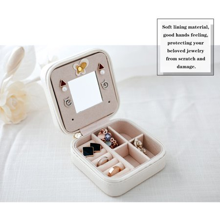 Small Portable Travel Jewelry Box Organizer Storage Case for Rings Earrings Necklaces - image 4 of 7