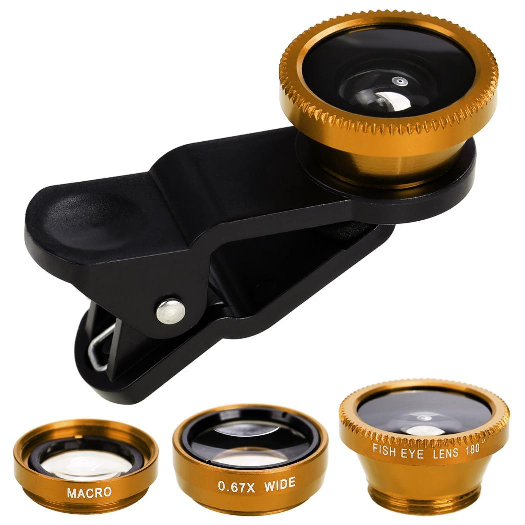 3 in 1 Phone  lens kit, Fisheye + Wide Angle + Macro  Lens Kit Clip On for iPhone & Android