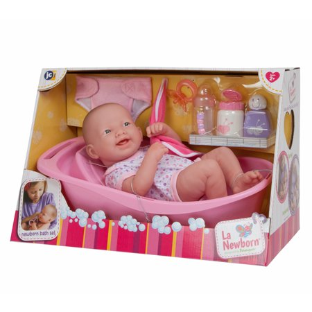 "JC Toys 14"" All-Vinyl La Newborn Realistic Baby Doll, Deluxe Bath Gift Set - Perfect for Children 2+"