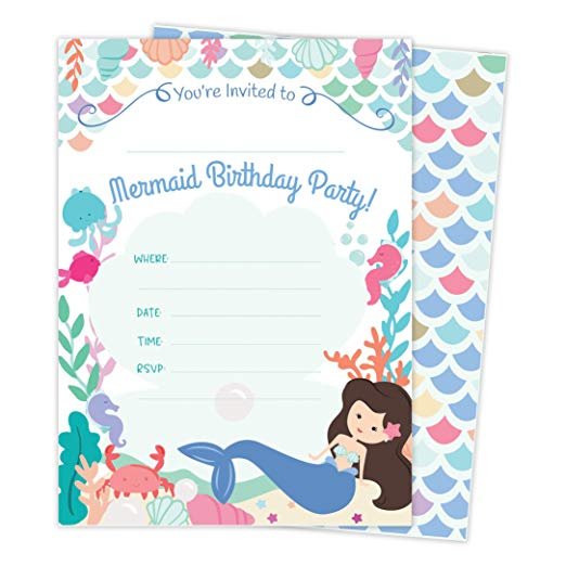 Mermaid Happy Birthday Invitations Invite Cards (25 Count) with Envelopes & Seal Stickers Vinyl Girls Kids Party