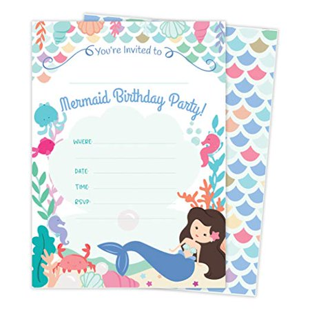 Mermaid Happy Birthday Invitations Invite Cards 25 Count With Envelopes Seal Stickers Vinyl Girls Kids Party
