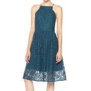 Kensie NEW Deep Blue Womens Size Medium M Floral-Lace A-Line Dress