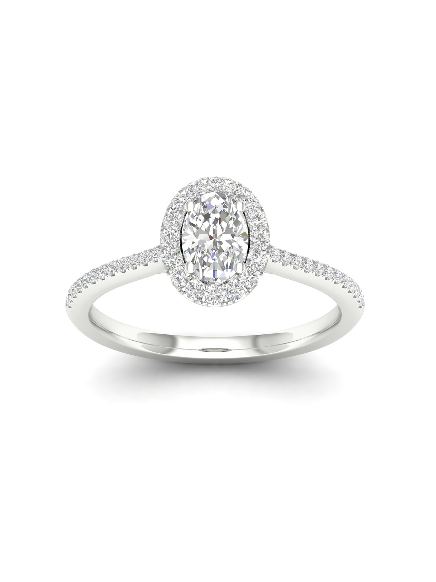 Imperial 1/3Ct TDW Oval Diamond 10k White Gold Halo Ring (I-J, I2)