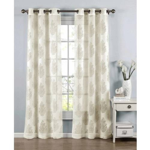Penelope Cotton Blend Burnout Sheer Grommet Curtain Panel Pairs by YMF Carpets Inc.