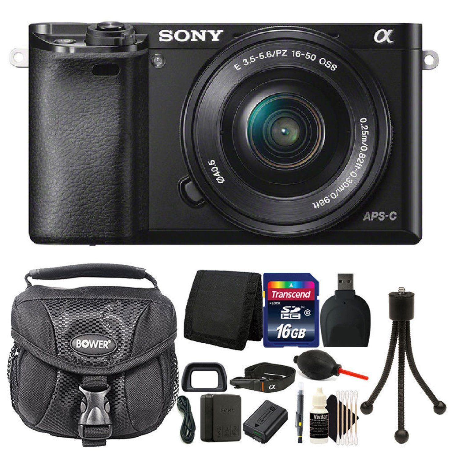 Sony Alpha A6000 24.3MP Mirrorless Digital Camera Full HD 1080p Wifi Enabled with 16-50mm + 16GB Card + Top Accessories