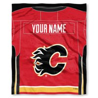 """NHL Calgary Flames """"Jersey"""" Personalized Silk Touch Throw Blanket"""