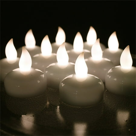 AGPtek 12pcs LED Floating Tea lights Waterproof Wedding Party Floral Decoration Flameless Candle Warm