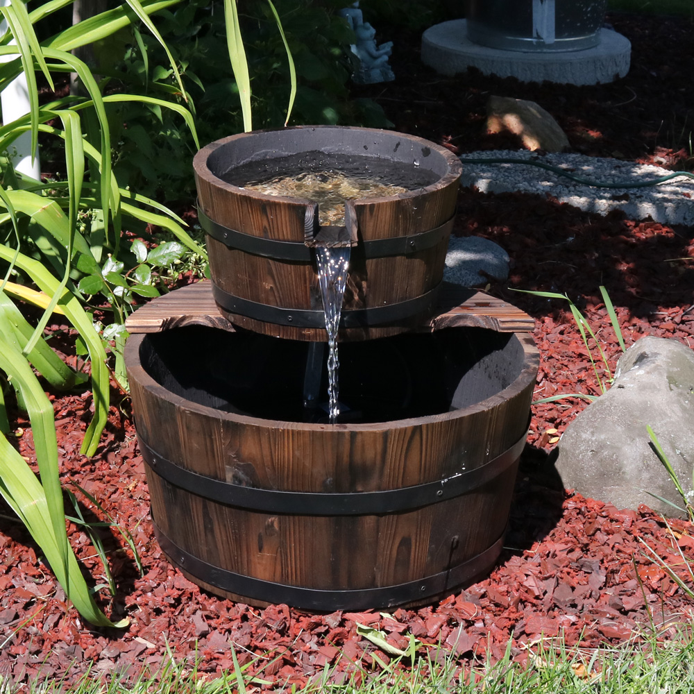 Sunnydaze Rustic Stacked Wooden Bowls Outdoor Water Fountain, 16 Inch,  Perfect For Patio,
