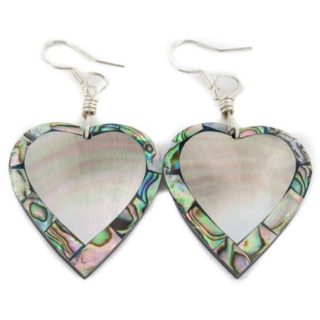 Authentic Navajo Inlay (Inlay Heart Navajo Certified Authentic .925 Sterling Silver Hooks Natural Abalone Native American Dangle Earrings )
