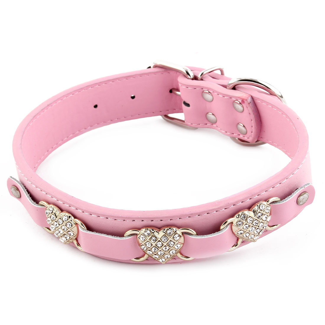 Pet Doggy Faux Leather Heart Shaped Faux Rhinestone Adjustable Neck Collar Pink