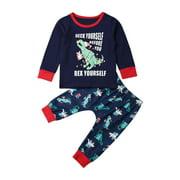 Xmas Toddler Baby Boy Girl Kid Clothes Christmas Dinosaur Tops + Pants Outfit