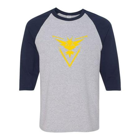ddcb71da Custom Apparel R Us - Pokemon Go Gym Team Instinct Yellow Mens Womens 3/4  Raglan Sleeve T-Shirt - Walmart.com