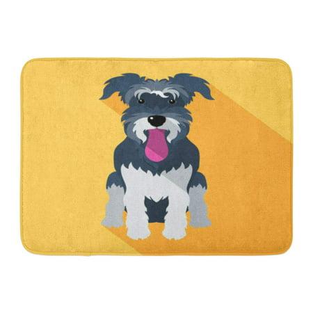 GODPOK Puppy White Face Dog Miniature Schnauzer Breed Flat Design Silhouette Animal Rug Doormat Bath Mat 23.6x15.7 inch