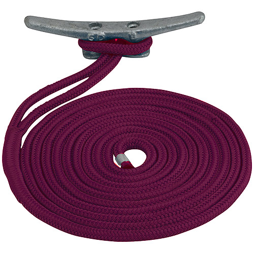 "Sea Dog Dock Line, Double Braided Nylon, 1 2"" x 25', Burgundy by Sea Dog"