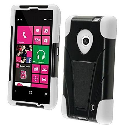 Dual Hybrid T-Stand Case for Nokia Lumia 521 - White/Black