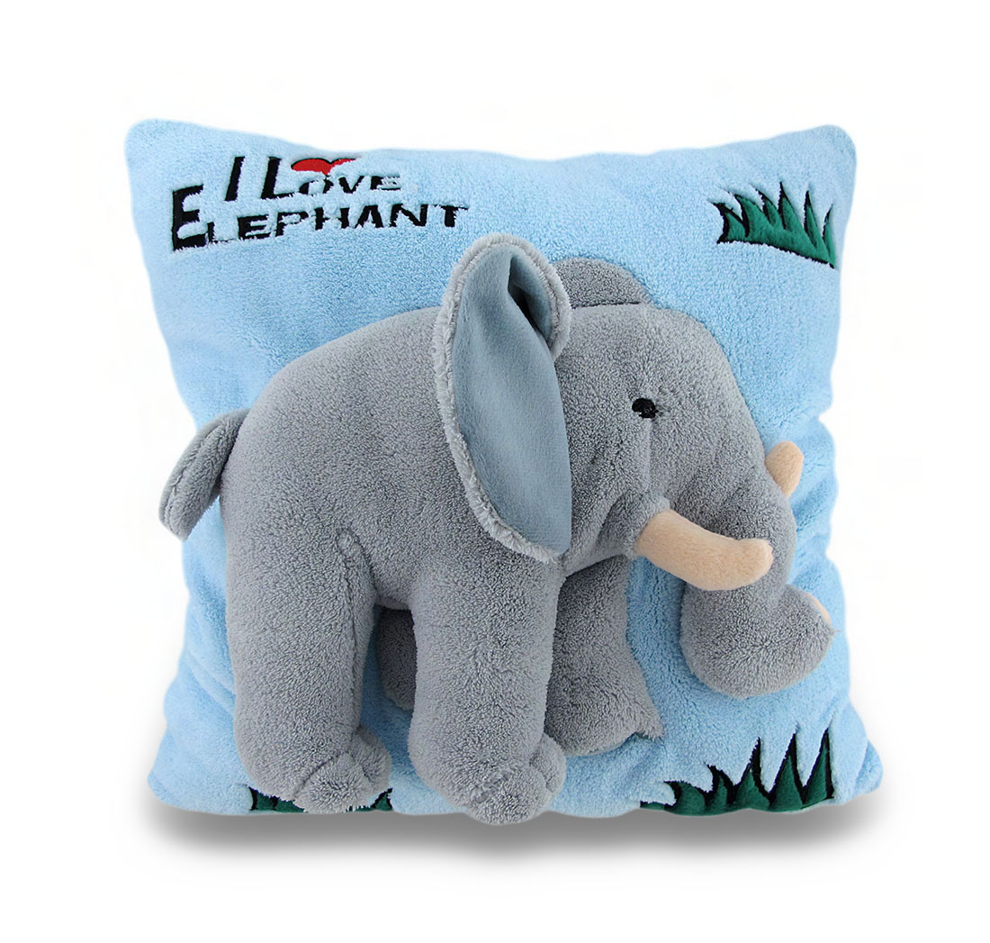 I Love Elephant Soft Blue and Gray Fuzzy 2D Decorative Throw Pillow 14in.