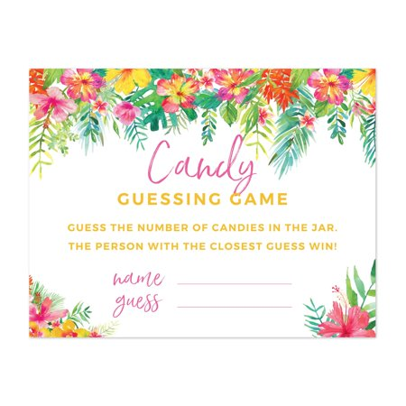 Candy Cars (Tropical Floral Garden Party Baby Shower, Candy Guessing Game Cards, 30-Pack, Games Activities and)
