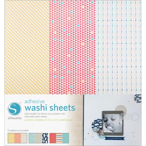 "Silhouette Adhesive Back Washi Paper 12""X12"" 3/Pkg-"
