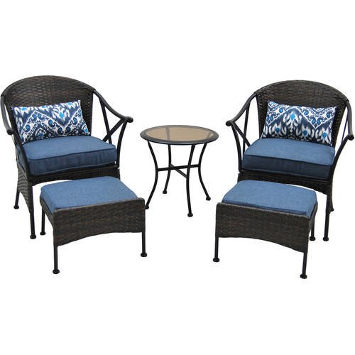 Mainstays Skylar Glen 5 Piece Outdoor Chat Set, Blue
