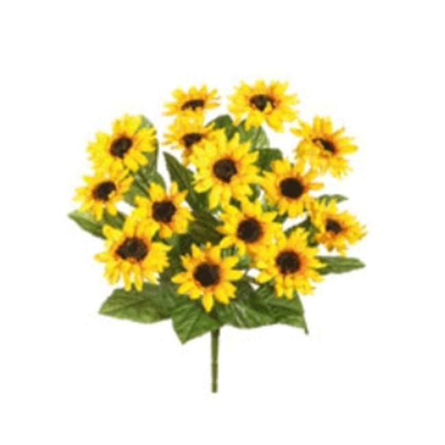 FBS193-YE 16 in. Yellow Sunflower Bush X14- Case of 12
