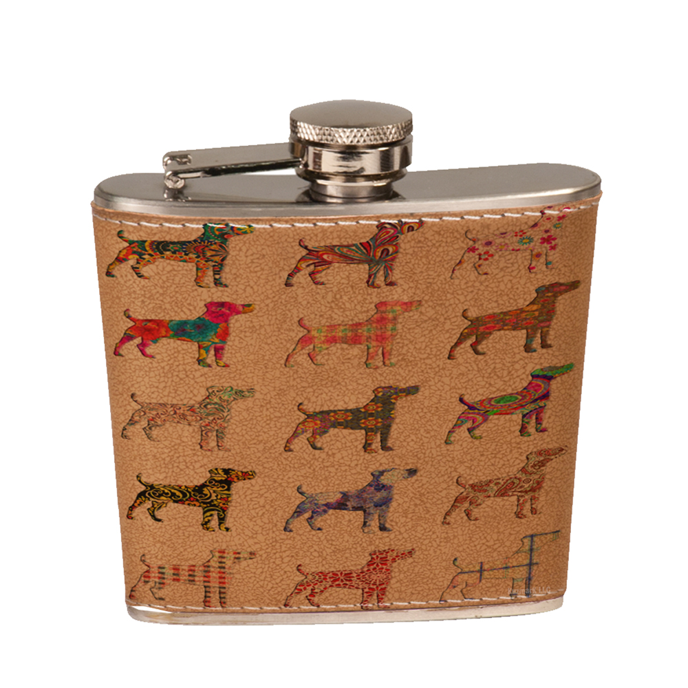 KuzmarK 6 oz. Leather Pocket Hip Liquor Flask - Golden Retriever Dog