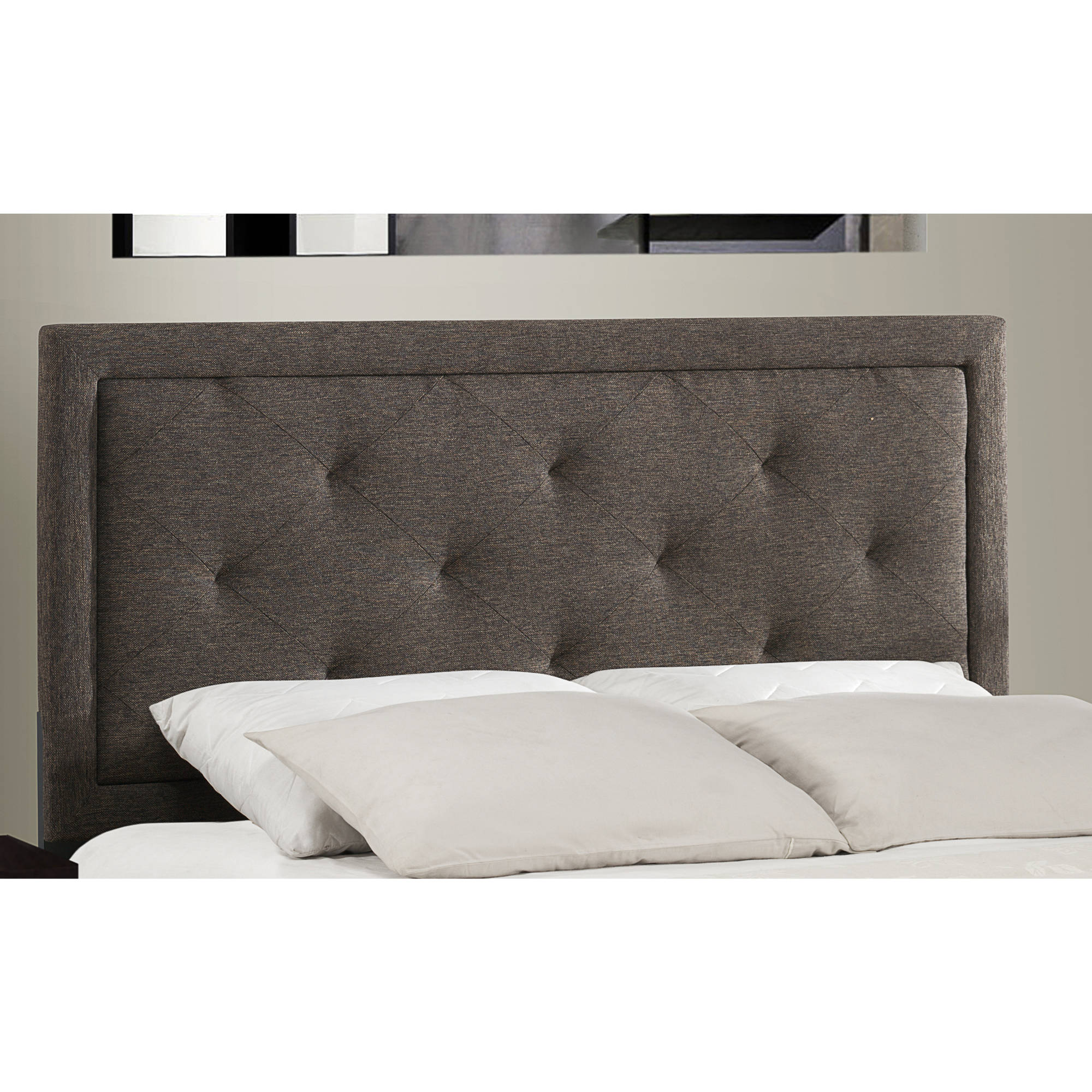 Hillsdale Furniture Becker King Headboard with Bedframe, Black   Brown Fabric by Hillsdale