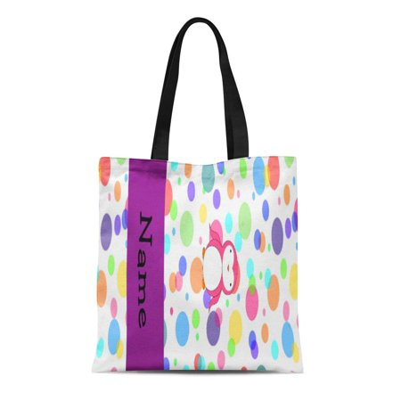 SIDONKU Canvas Tote Bag Cute Personalized Name Pink Penguin Rainbow Polka Dots Personalization Reusable Handbag Shoulder Grocery Shopping Bags