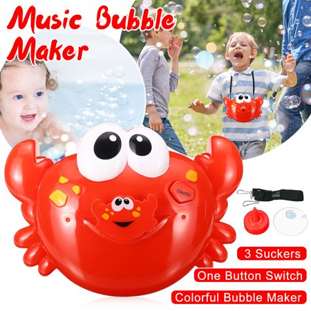 Bubble Machine Big Crab Automatic Bubble Maker Blower Music Bath Toy For Baby Toddler -