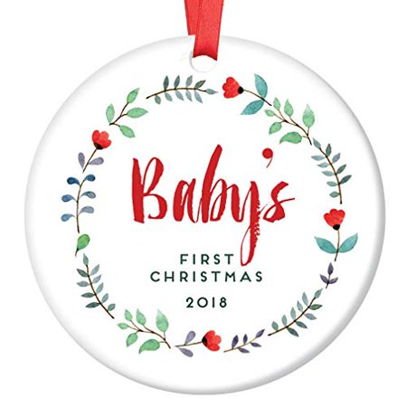 - Baby's First Christmas 2018 Ornament Pretty Floral Newborn Girl Ceramic Collectible 3