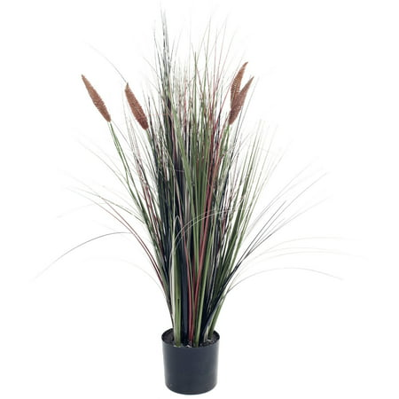 Pure Garden 4' Ornamental Artificial Tall Cattail Grass