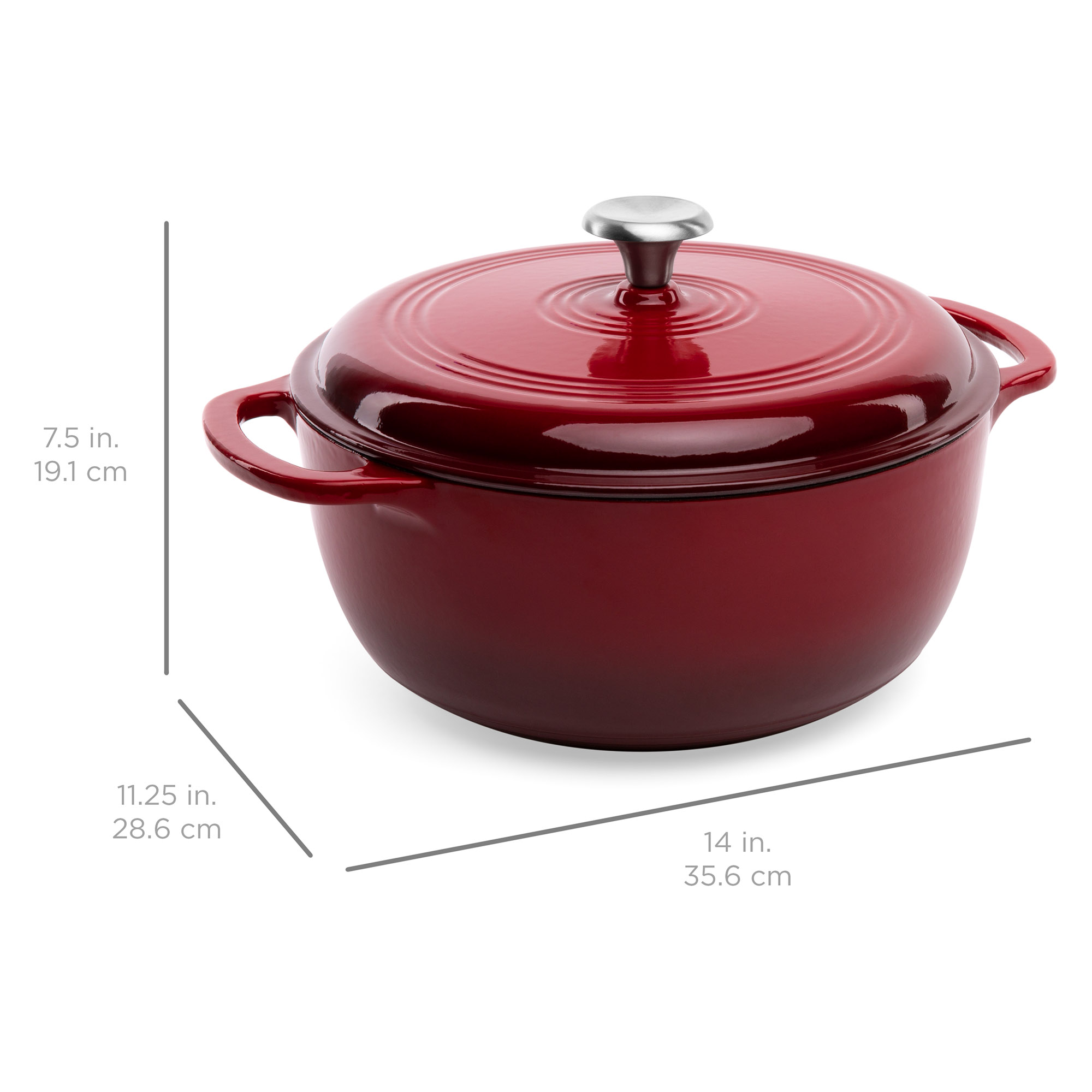 Roasting Gas Electric Blue Side Handles Induction Oven Compatible Secure Lid for Baking Best Choice Products 6qt Non-Stick Heavy-Duty Cast-Iron Ceramic Dutch Oven w//Enamel Coating Braising