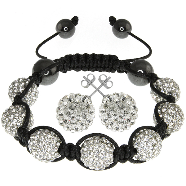 White Crystal Pave Disco Ball Dia-Cut Adjustable Bracelet & 12mm Earrings Set
