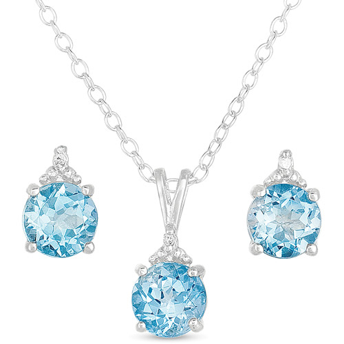 .015 T.G.W. Blue Topaz and Diamond-Accent Sterling Silver Stud Earrings and Pendant, 18""