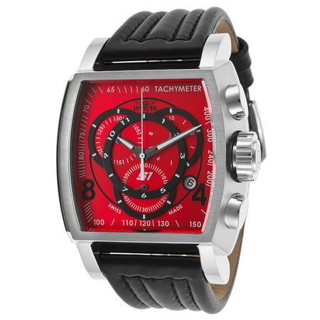 Invicta 20238 Men's S1 Rally Chrono Black Genuine Leather Red Dial Watch