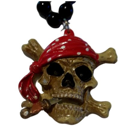 Pirate skull and crossbones Mardi Gras Necklace Beads Bead (Cheap Mardi Gras Beads In Bulk)