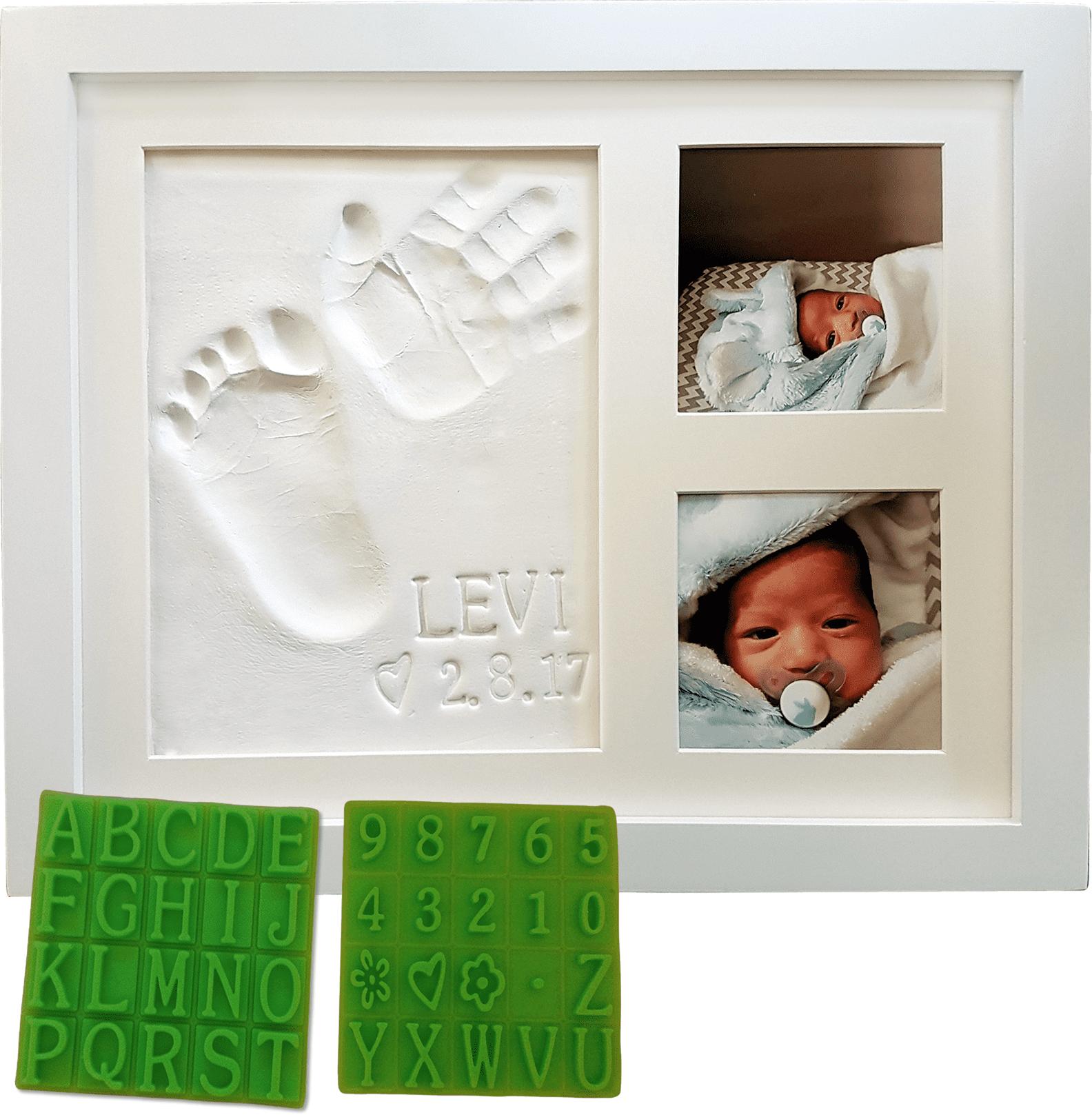 Personalized Baby Handprint Footprint Keepsake Photo Frame Kit