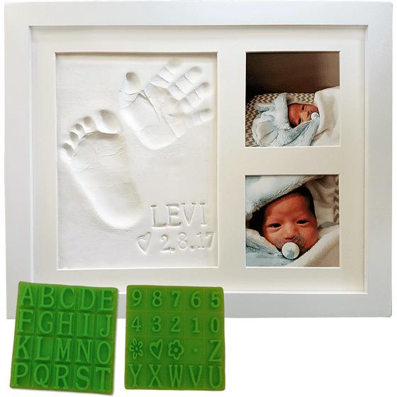 Personalized baby handprint footprint keepsake photo frame kit personalized baby handprint footprint keepsake photo frame kit premium non toxic clay negle Images