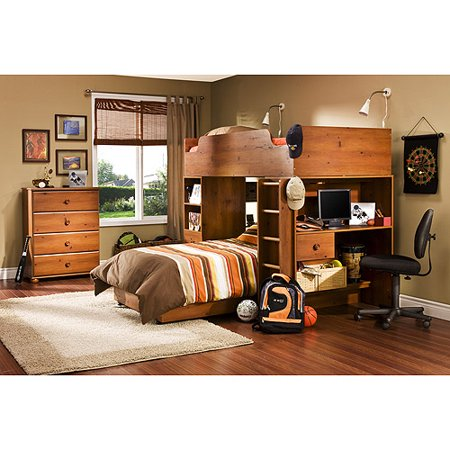 South Shore Logik Twin Loft Bed Sunny Pine Walmart Com