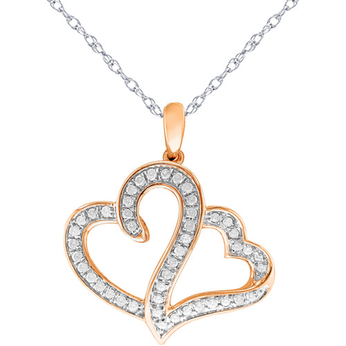Heart 2 Heart 1/2 Carat T.W. White Diamond Sterling Silver with Pink Gold Flash  Pendant, 20""