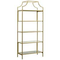 Sauder International Lux 5 Shelf Bookcase in Satin Gold
