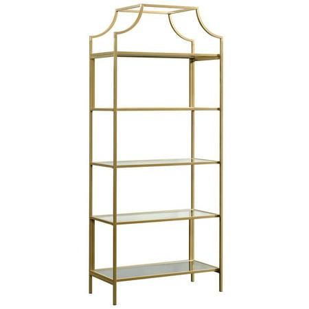 Sauder International Lux 5 Shelf Bookcase in Satin Gold Satin Nickel Bookshelf